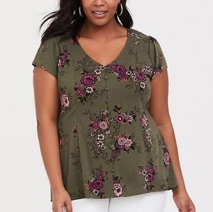 Olive green floral buttom blouse with corset back